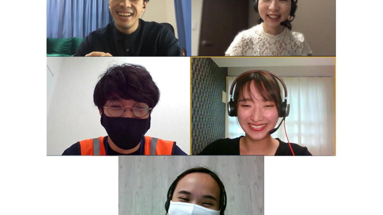オンライン上で初めて顔を合わせたAmazon新卒社員5人