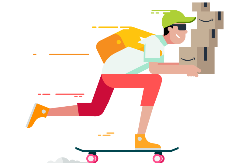 Illustration of a man riding a skateboard, while holding Amazon packages.