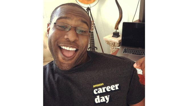 Amazon Career Day recruiter wearing a Career Day T-Shirt.