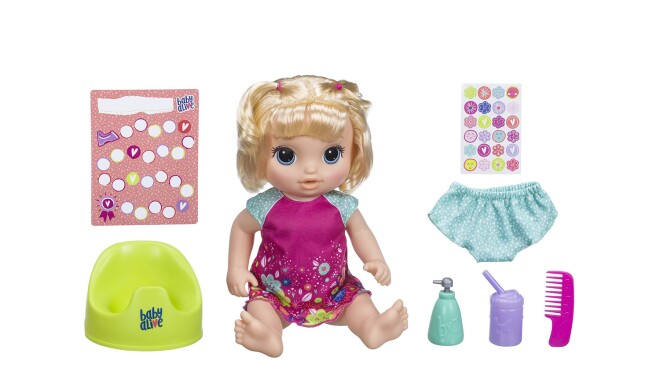 Interactive Baby Alive doll that speaks, drinks water, and goes potty. Doll comes with outfit, potty, water bottle, pretend soap dispenser, undies, comb, and rewards chart with stickers