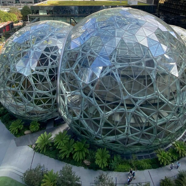 A view from Above of The Spheres on Amazon's Seattle campus in the Puget Sound