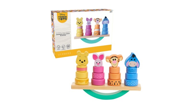 An image of a children's balancing blocks toy with Winnie the Pooh characters on them.