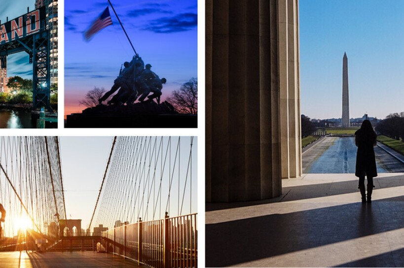 "Four images featuring scenes from New York City, NY and Arlington, VA. From top left: Long Island bridge with ""LONG ISLAND"" painted on the side of the bridge in red and white, The Marine Corps War Memorial which was inspired by the iconic 1945 photograph of six Marines raising a U.S. flag atop Mount Suribachi during the World War II Battle of Iwo Jima. A person runs across the Brooklyn Bridge as the sun rises behind them. A person stands in the shadows of the Lincoln Memorial, facing the Washington Monument."