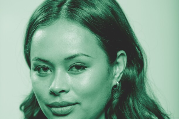 "Frankie Adams, from the Amazon Originals series ""The Expanse"" poses for a photo. The image has been treated with a green filter."