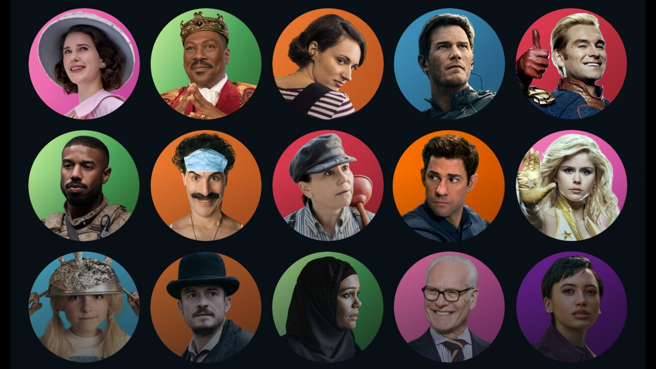 A black graphic with small circular images showing headshots of different characters from Prime Video Original shows.