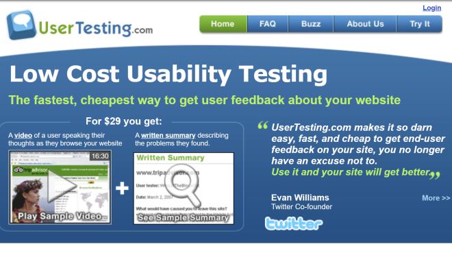A screenshot of the homepage for Usertesting.com