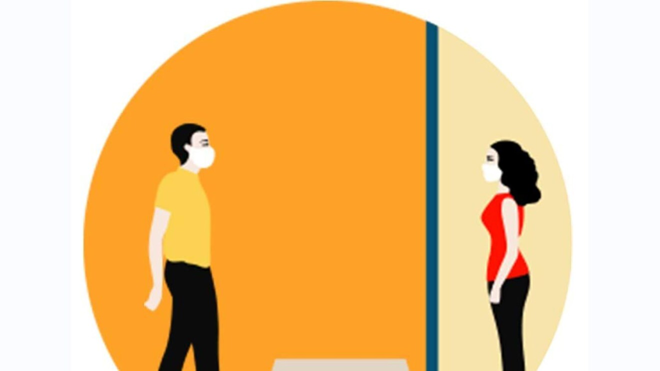Illustration on orange background illustrating COVID-19 safety measures that individuals can take, including handwashing or social distancing.