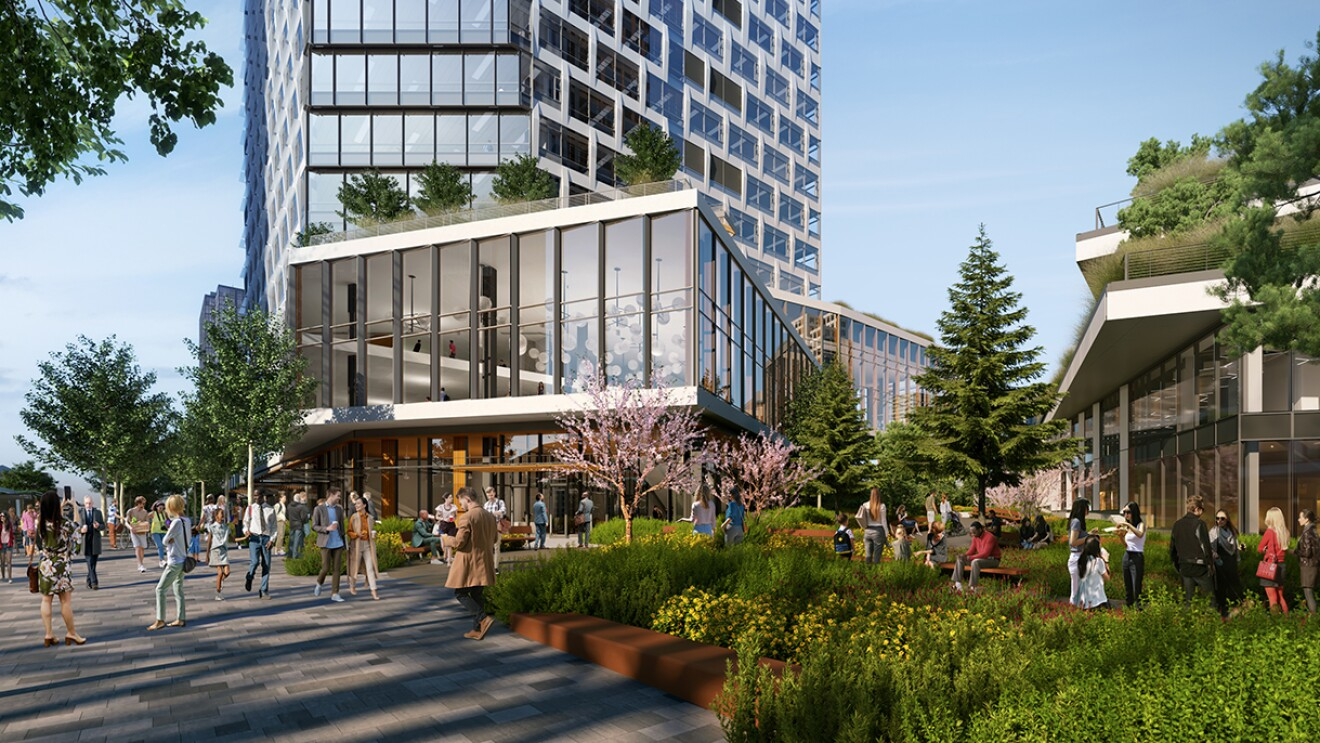 Rendering of Amazon's new Bellevue 600 site, featuring a public, outdoor plaza and garden, which is centrally located between the two buildings with a 16-foot-wide park-like walking path.