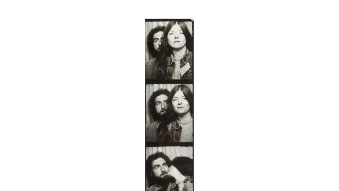 Strip of photo booth images from decades past, with a man and woman, shot in black and white.
