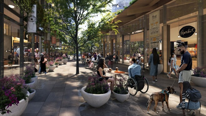 A rendering of the new Amazon headquarters in Arlington. The rendering shows people dining and shopping in a retail space at the  headquarters.