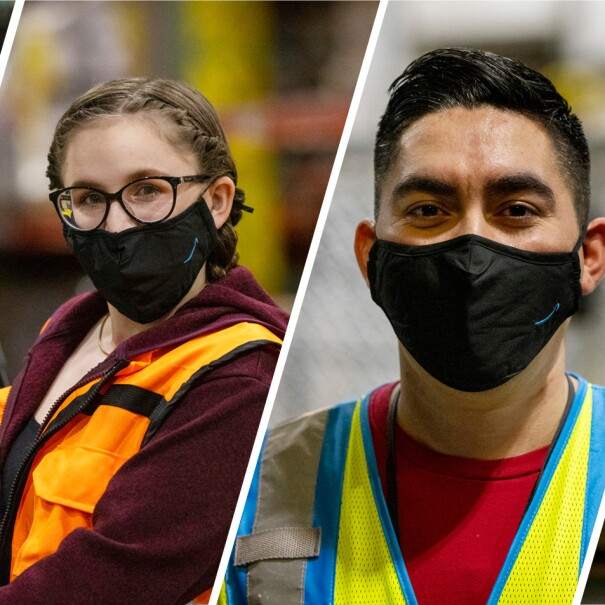 A collage of photos featuring Amazon employees smiling for photos in the Amazon fulfillment centers and offices where they work. Fulfillment center employees are wearing yellow safety vests and masks.