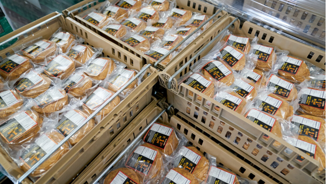 Mr. Tortilla products packaged in bins and ready for sale.