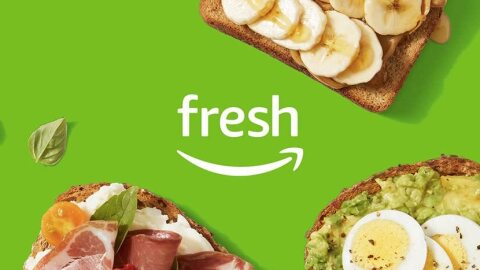 Amazon Fresh logo on a green background with food