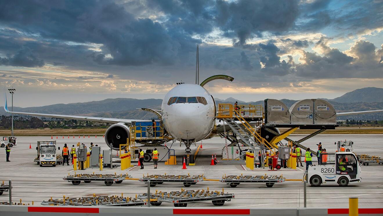 Amazon employees at the new San Bernardino Amazon Air location