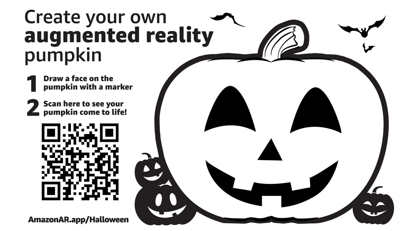 Amazon's augmented reality boxes include a pumpkin that customers can decorate and view in augmented reality.