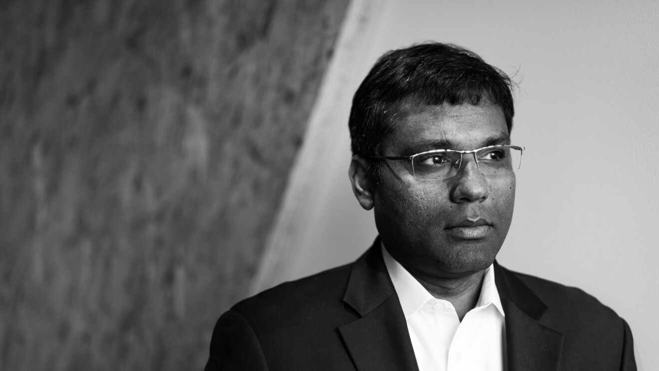 A black and white portrait of Amazon's Rohit Prasad, vice president and head scientist of Alexa Machine Learning.