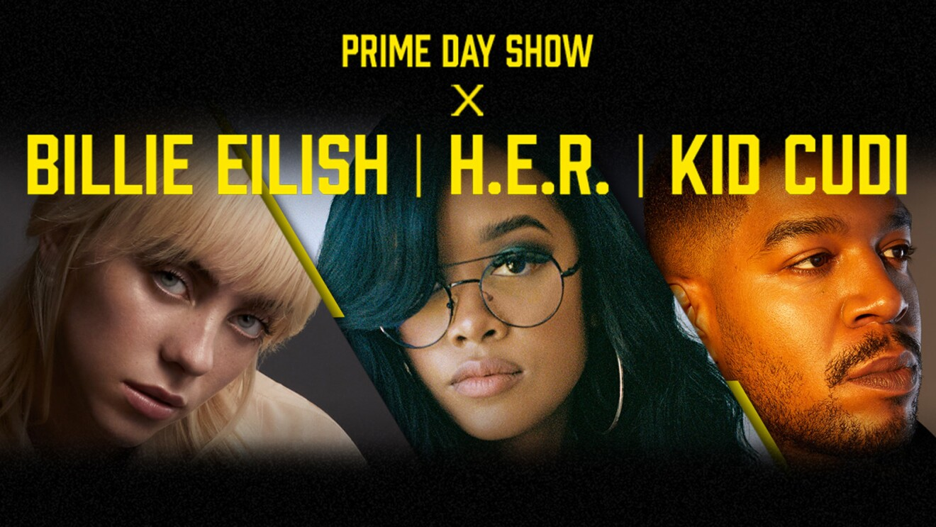 Prime Day Show Leadup banner including Billie Eilish, H.E.R. and Kid Cudi on a black background
