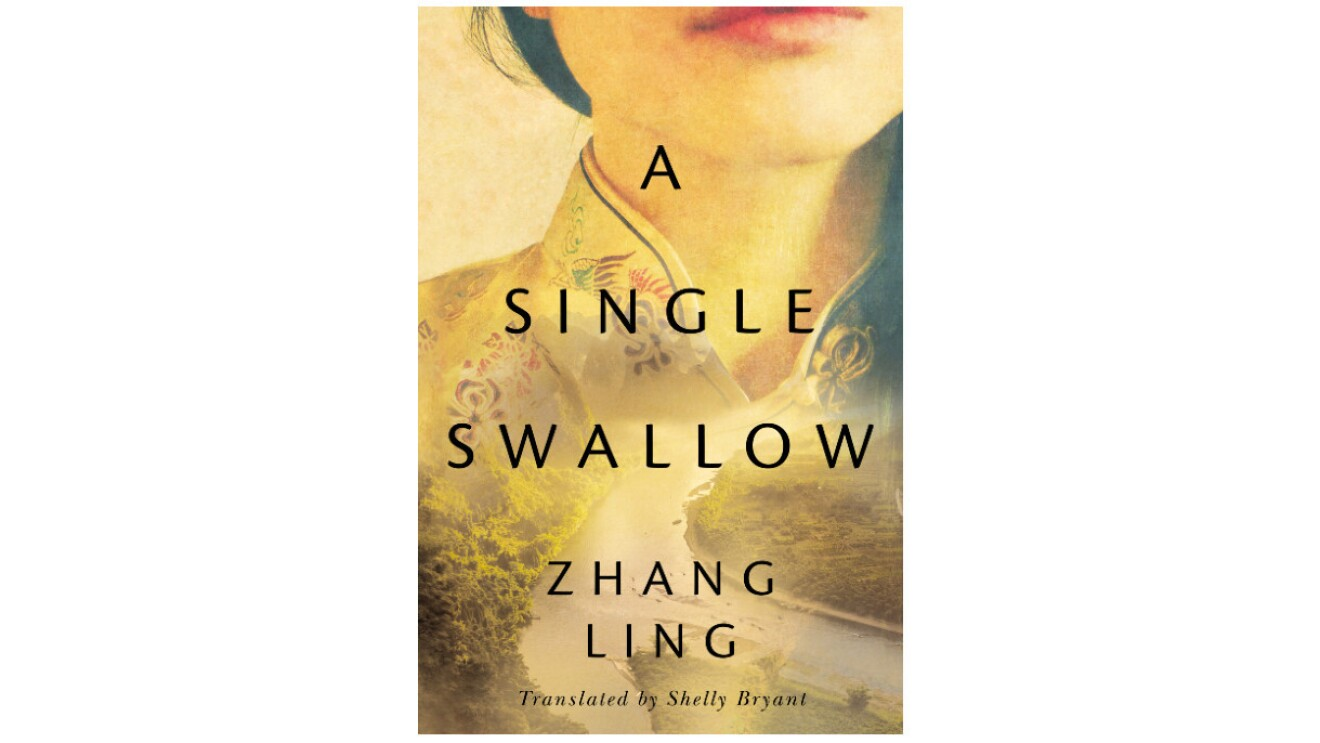 The book cover of A Single Swallow book cover by Zhang Ling. The book cover has yellow undertones and features from the top a woman's face from the mouth down. A river surrounded by greenery flows into the image of the woman.