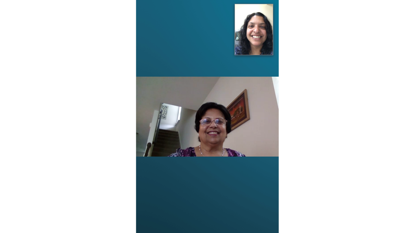 An Amazon employee and her mother engage with one another via Echo Care hub.