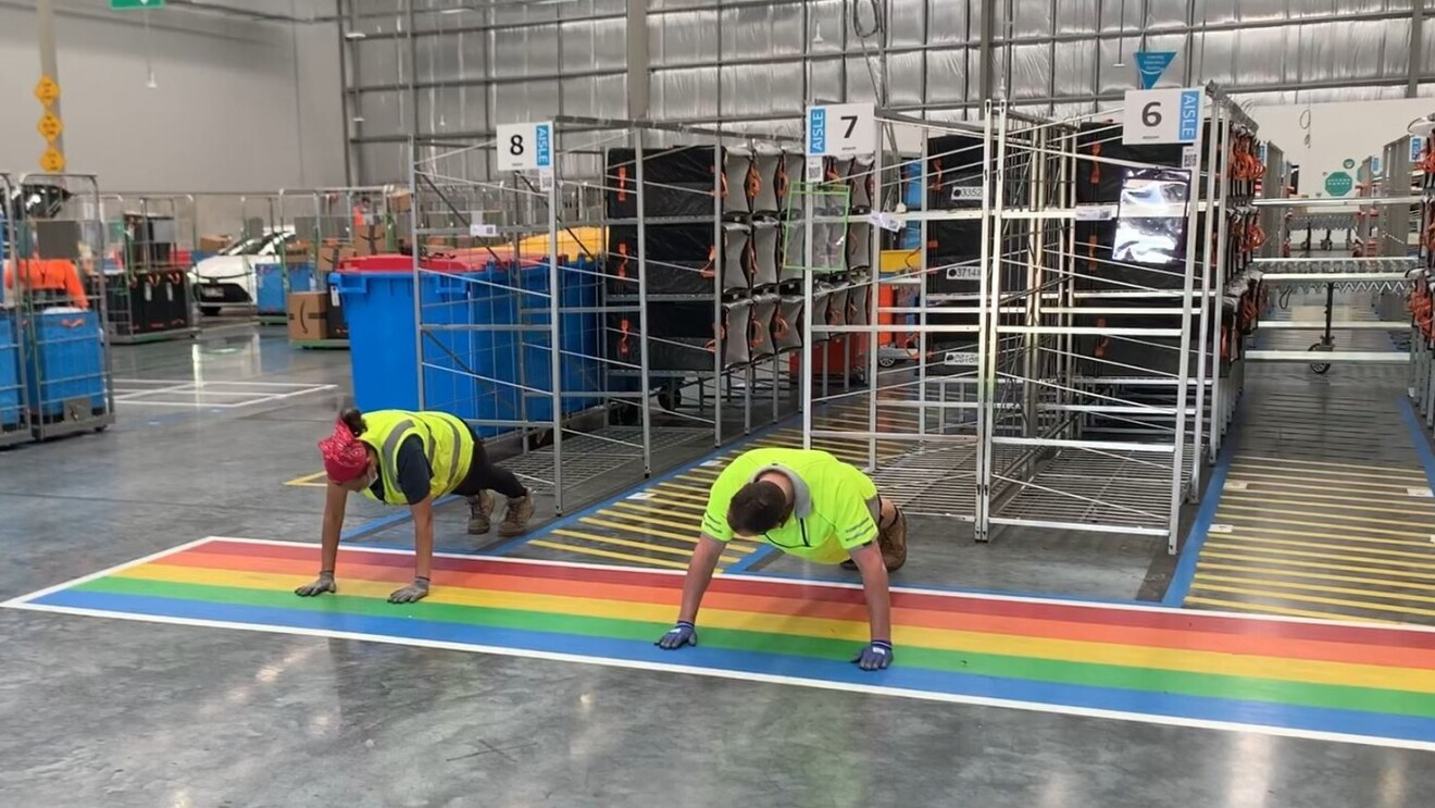 Competitors in our Brisbane delivery station compete in the Lockdown Olympics'push up' event
