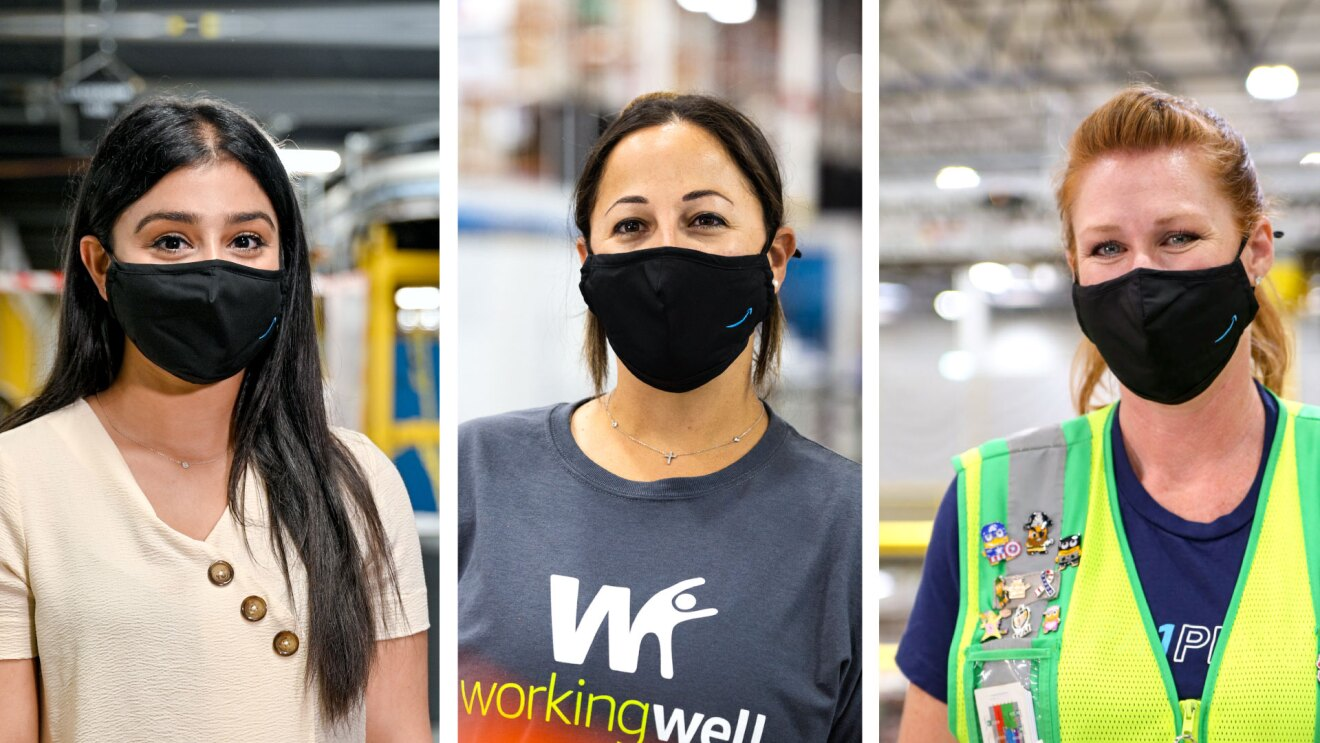 A collage of three, female Amazon employees smiling for individual portraits inside the fulfillment centers where they work. All three women are wearing black face masks with the Amazon logo on them.