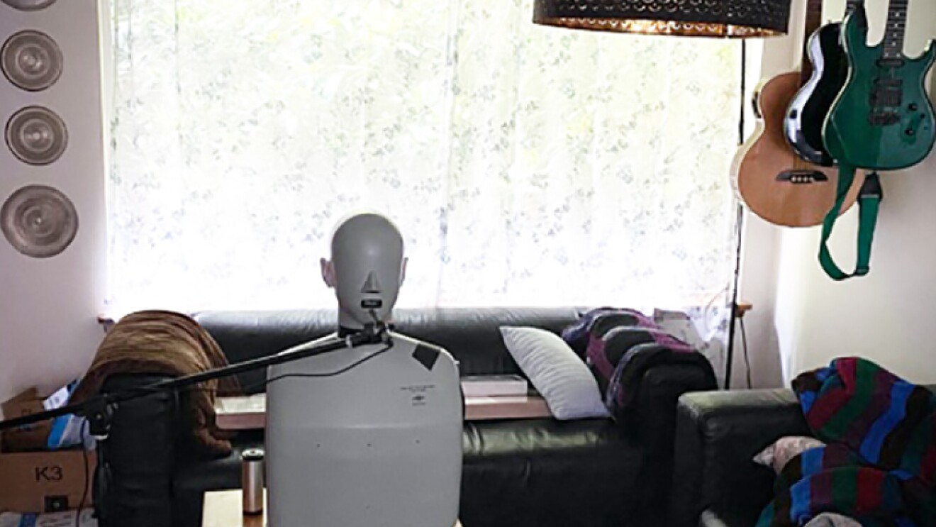 "A HATS device referred to as ""HAL"" in an Amazon employee's living room"