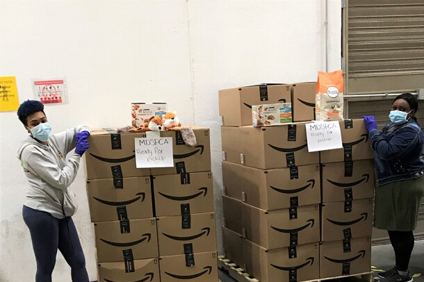 Images from the ASPCA in thanks to Amazon for donating thousands of items, including 6,500 pounds of pet food
