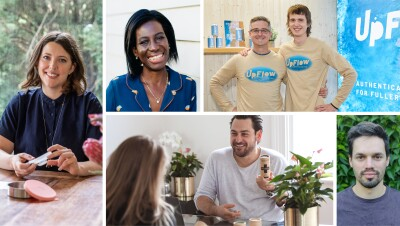 A collage of 5 small business owners who received a small business award from Amazon
