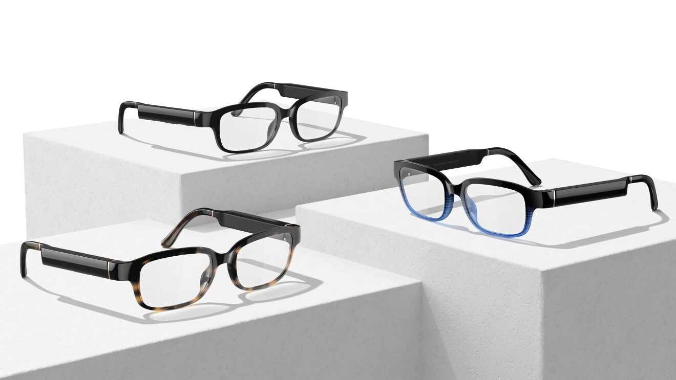 An image featuring three pairs of Amazon's new Echo Frames glasses. The first pair is tortoise shell and black, the second is all black, and the third is blue and black.