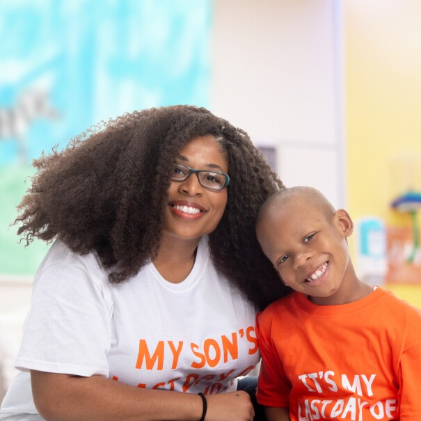 An image of a mother and son smiling for a photo at St. Jude's Children's Hospital.