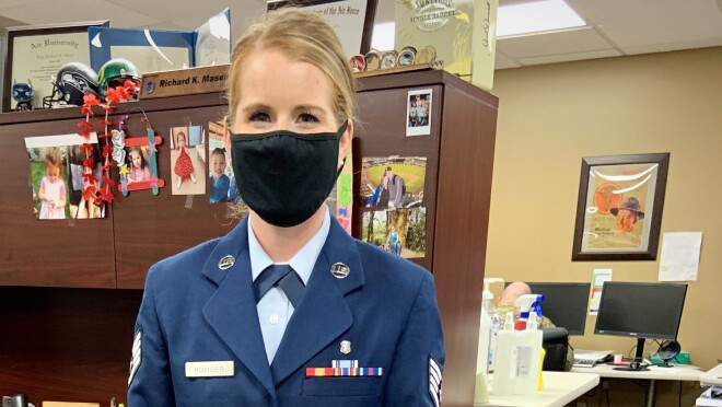 An image of Jessica Houser, a military member and Amazon employee.