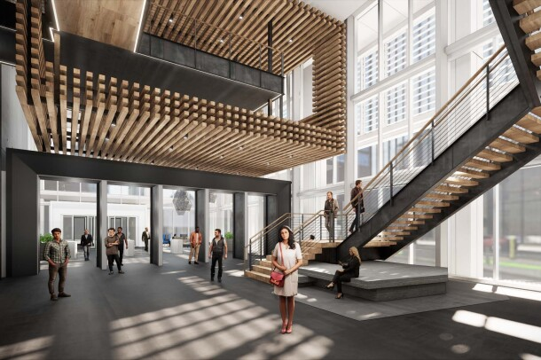A rendering the stairs at the entrance of the future Amazon office in Nashville.