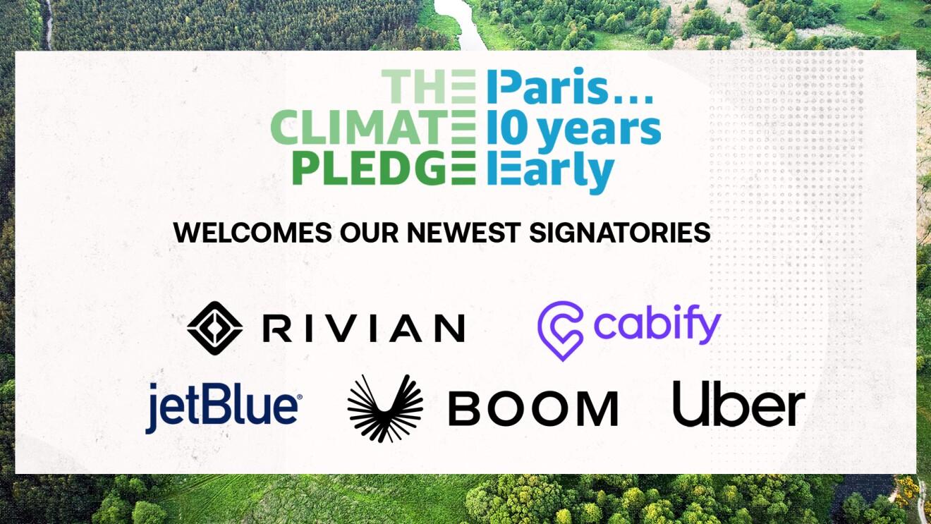 Climate Pledge_Unterzeichner_Rivian_cabify_jetblue_boom_uber