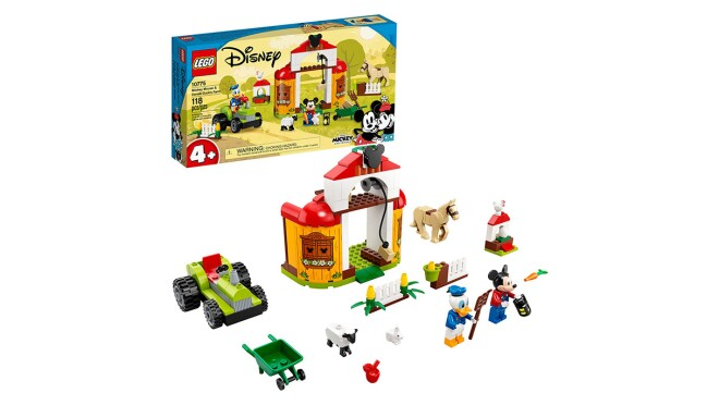 An image of the set for the LEGO Disney Mickey Mouse & Donald Duck's Farm. The image shows several of the set's 118 Pieces.