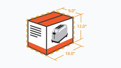 Illustration of the measurements of a toaster packaging. Length 18.0 inches, Width 9.0 inches, and Height 12.0 inches.