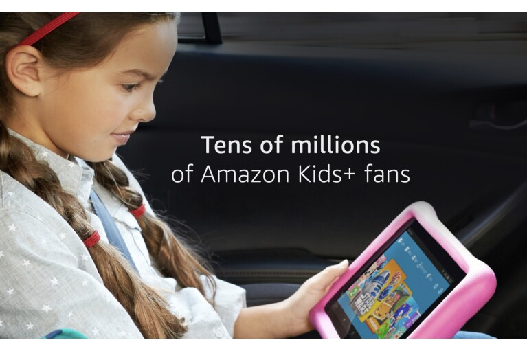 """An image of a little girl in a car, with copy that says """"Tens of millions of Amazon Kids+ fan"""""""