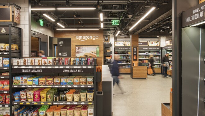 Customers shop at the Amazon Go store in Seattle, Washington.