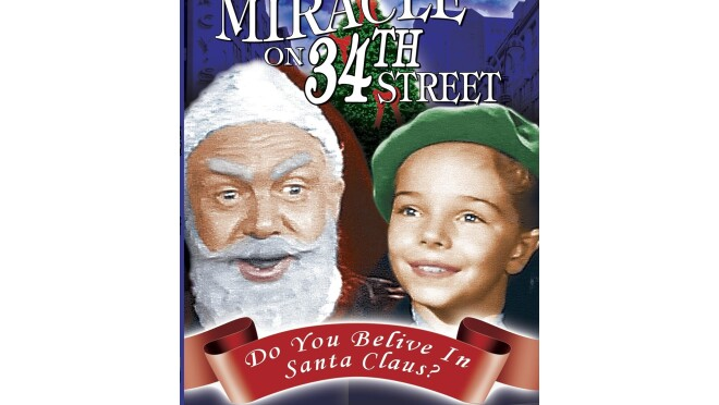 """Cover art for """"The Miracle on 34th Street"""" shows a man dressed like santa, next to a young child in a green beret, with a Christmas tree behind them."""