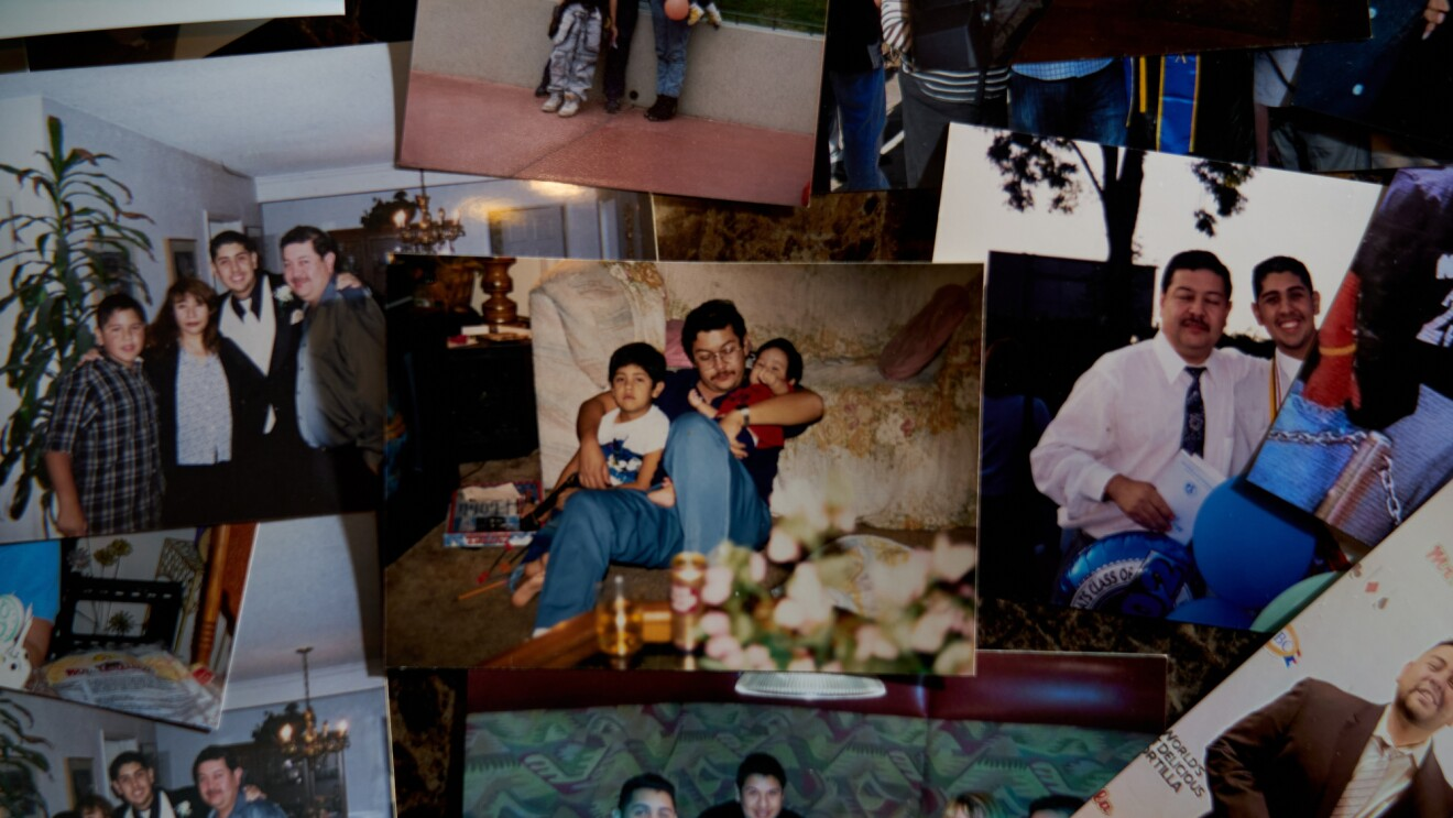 A picture of an array of old family photos.