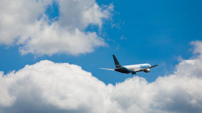A Prime Air plane taking off.