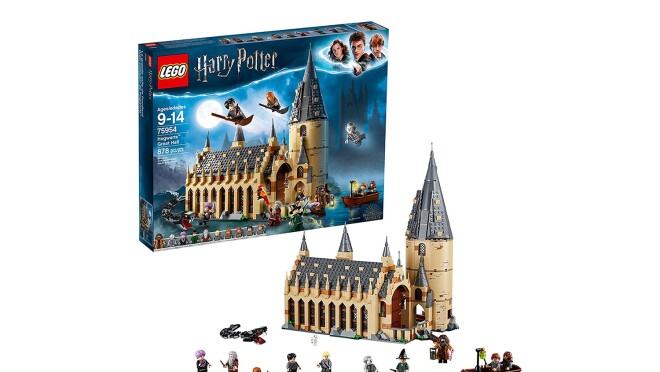 """An 878-piece LEGO set with 10 mini figures: Harry Potter, Ron Weasley, Hermione Granger, Draco Malfoy, Susan bones, Professor McGonagall, Professor quirrell with dual Lord Voldemort face, Hagrid, Albus Dumbledore and nearly headless Nick, as well as buildable basilisk and fawkes creatures, plus hedwig and scabbers figures. Hogwarts great Hall measures over 14"""" (37cm) high, 11"""" (30cm) wide and 7"""" (18cm) deep."""