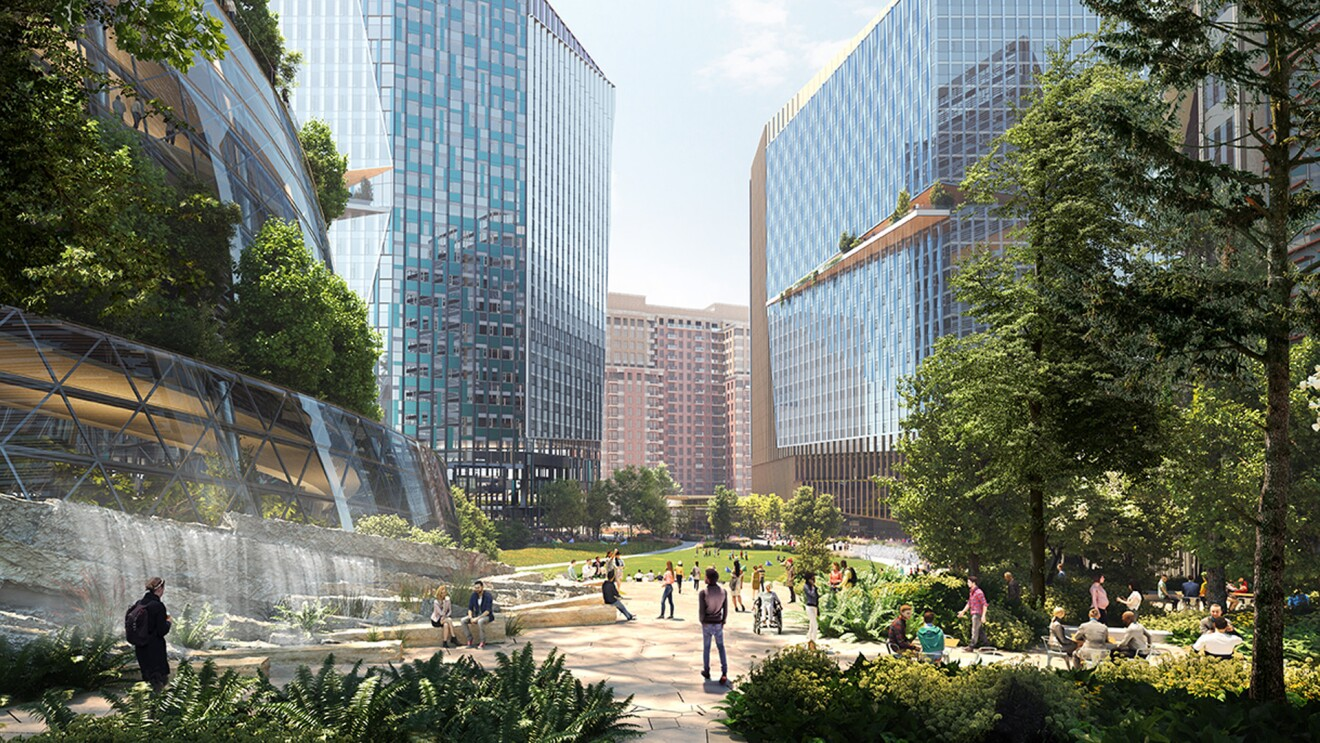 Renderings of Amazon's new, HQ2 building from the outside.