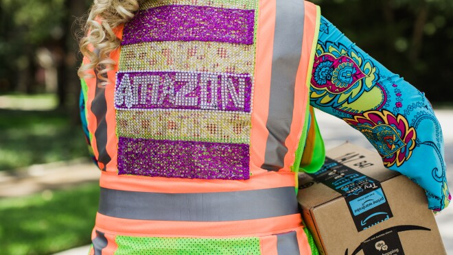 A woman in a bedazzled Amazon Flex vest.