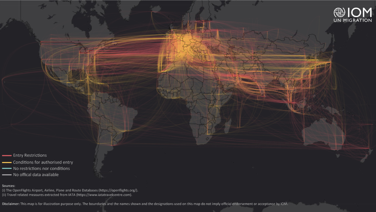 An infographic of a map showing restricted or canceled routes of international entry between countries. It shows that most international travel has been either restricted or closed completely.