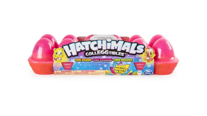 12-pack Hatchimal CollEGGtibles egg carton with a dozen season 4 Hatchimals in vibrant neon colors.
