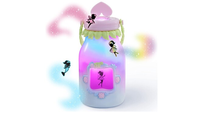 An image of a jar with cartoon fairies and colorful mists around it. It has a pink cap and a light blue jar.