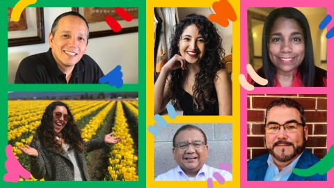 A collage image of various Amazon employees. The boarders are colorful in bright pink, green, and yellow, with bright illustrations in blue, red, peach, and light blue.