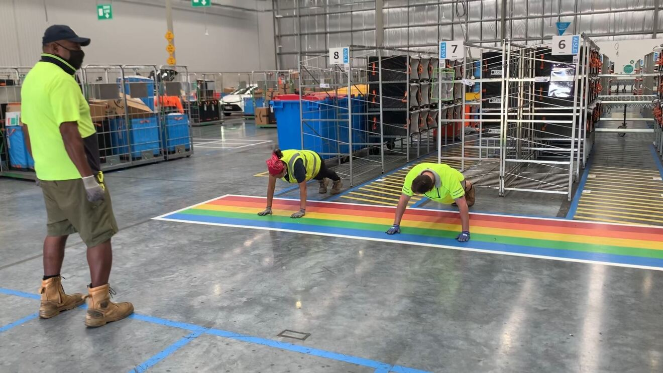 Michael from our Brisbane fulfilment centre competes in the Lockdown Olympics 'push up' event