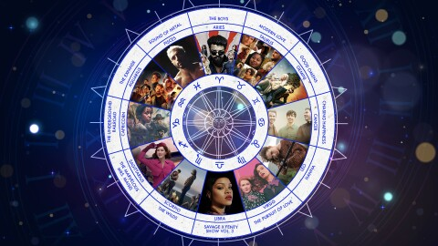 An image of a Zodiac wheel. There are images of artists and actors from Amazon Music and Prime Video shows corresponding with each sign on the wheel. The wheel is set against a purple background.