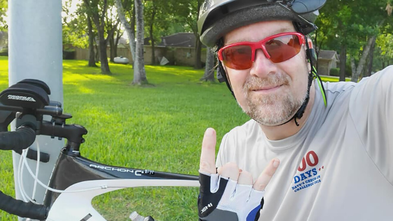 """A man, AJ, who is a biking enthusiast. He was injured in an accident on his bike and used Alexa to """"drop in"""" on his wife to ask for help."""